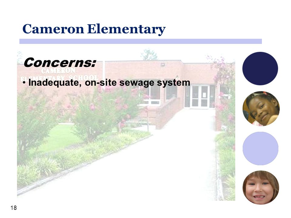 18 Cameron Elementary Concerns: Inadequate, on-site sewage system