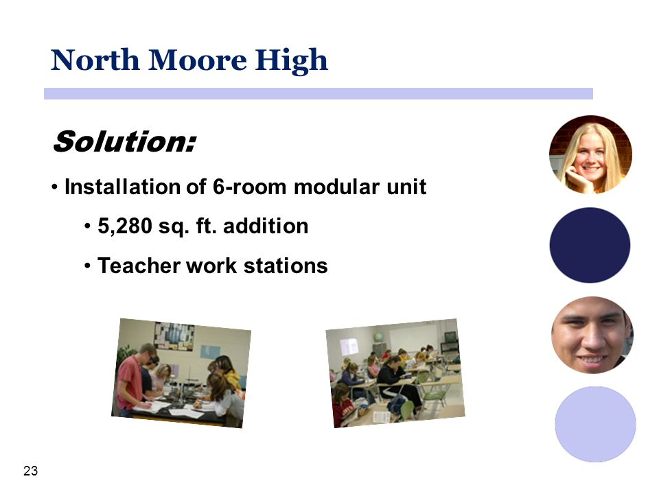 23 North Moore High Solution: Installation of 6-room modular unit 5,280 sq.
