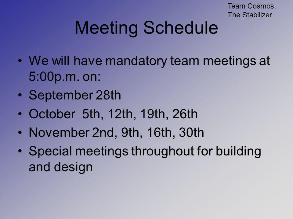Deadline Schedule
