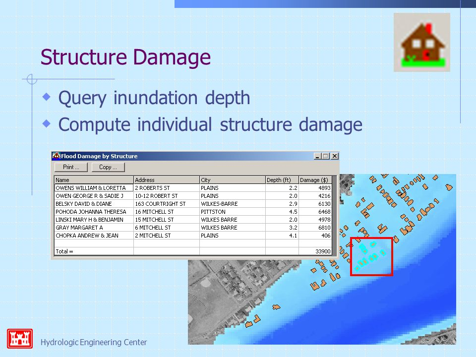 Hydrologic Engineering Center18 Structure Damage  Query inundation depth  Compute individual structure damage