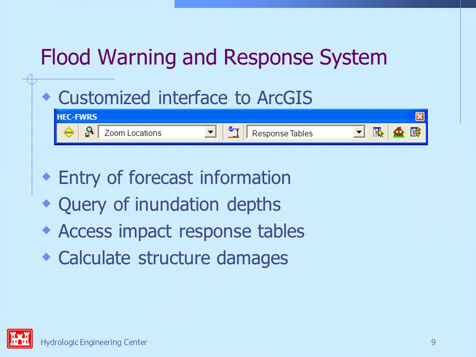Hydrologic Engineering Center9 Flood Warning and Response System  Customized interface to ArcGIS  Entry of forecast information  Query of inundation depths  Access impact response tables  Calculate structure damages Zoom Locations Response Tables