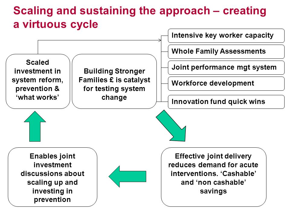 Scaling and sustaining the approach – creating a virtuous cycle Building Stronger Families £ is catalyst for testing system change Whole Family Assessments Joint performance mgt system Intensive key worker capacity Workforce development Innovation fund quick wins Effective joint delivery reduces demand for acute interventions.