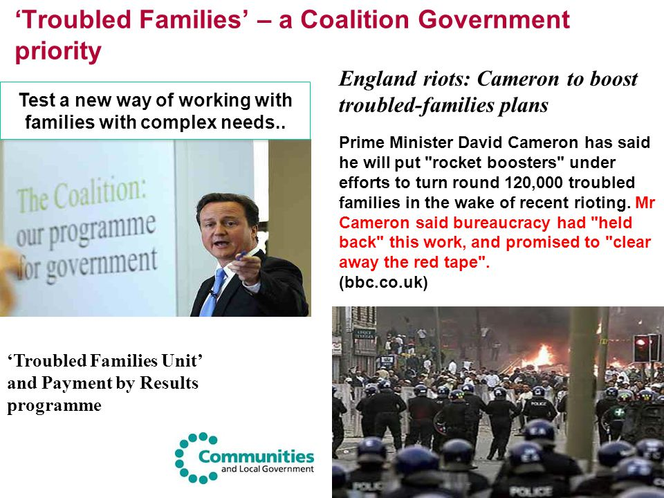 'Troubled Families' – a Coalition Government priority 'Troubled Families Unit' and Payment by Results programme Prime Minister David Cameron has said
