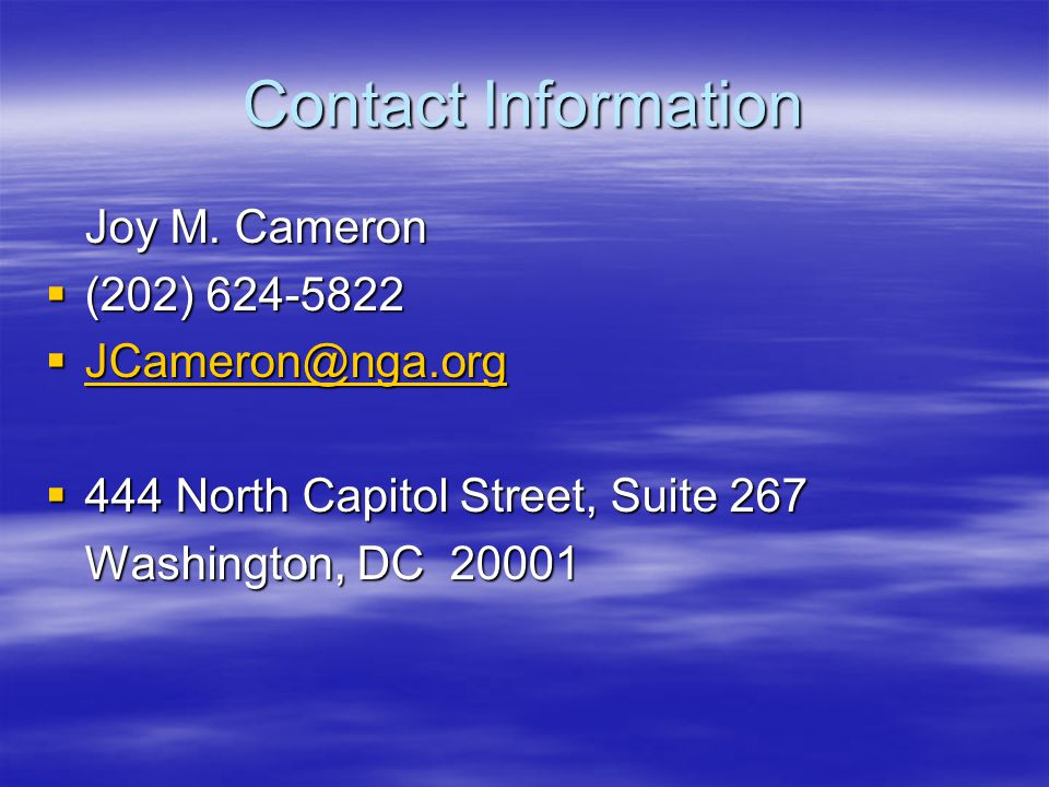 Contact Information Joy M.