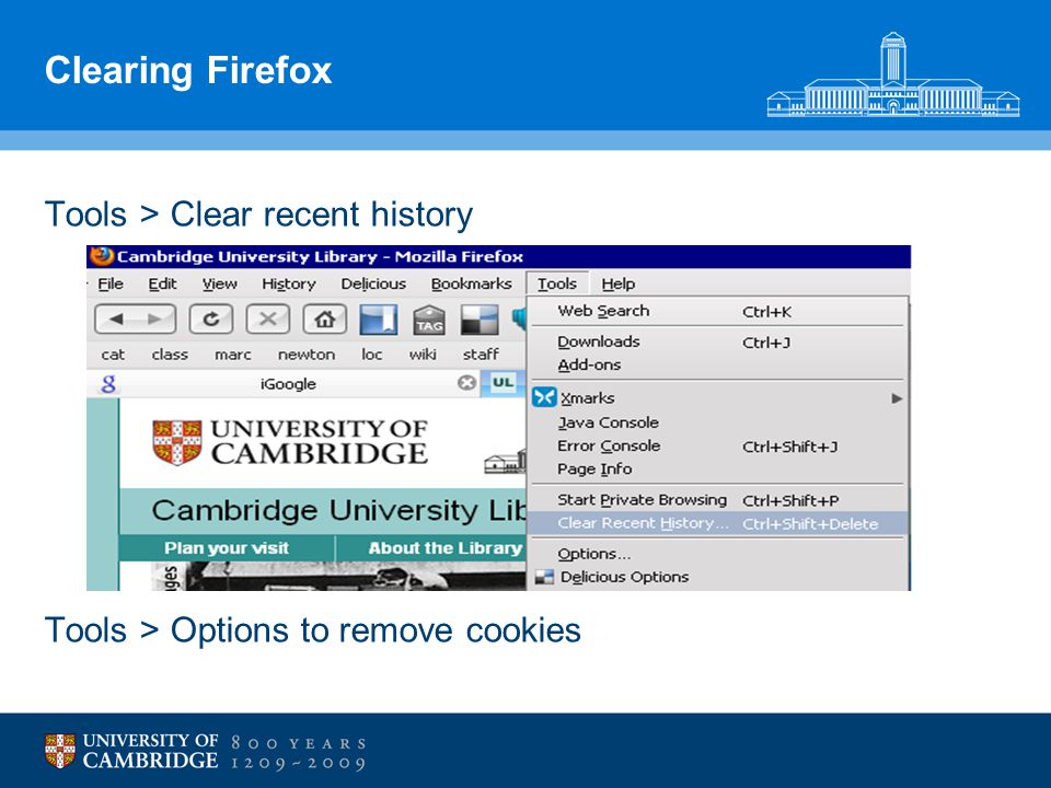 Clearing Firefox Tools > Clear recent history Tools > Options to remove cookies