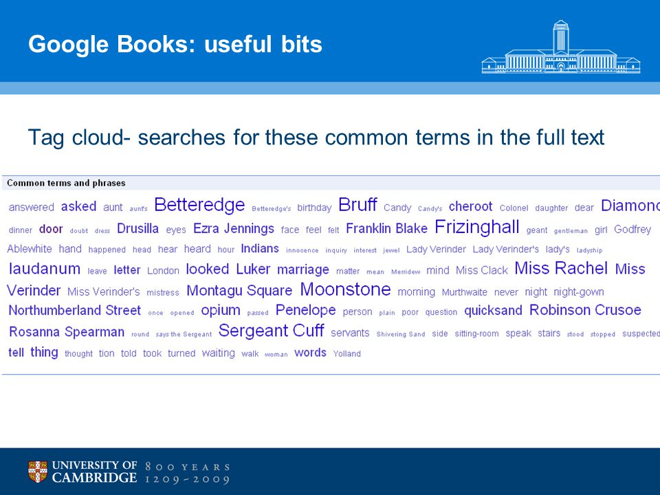 Google Books: useful bits Tag cloud- searches for these common terms in the full text