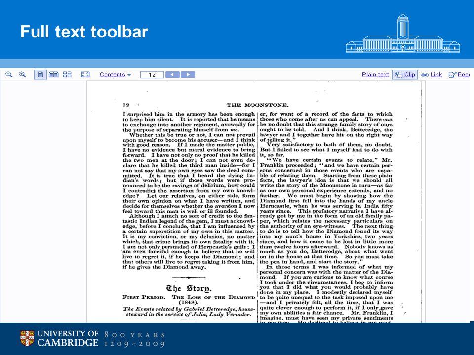 Full text toolbar