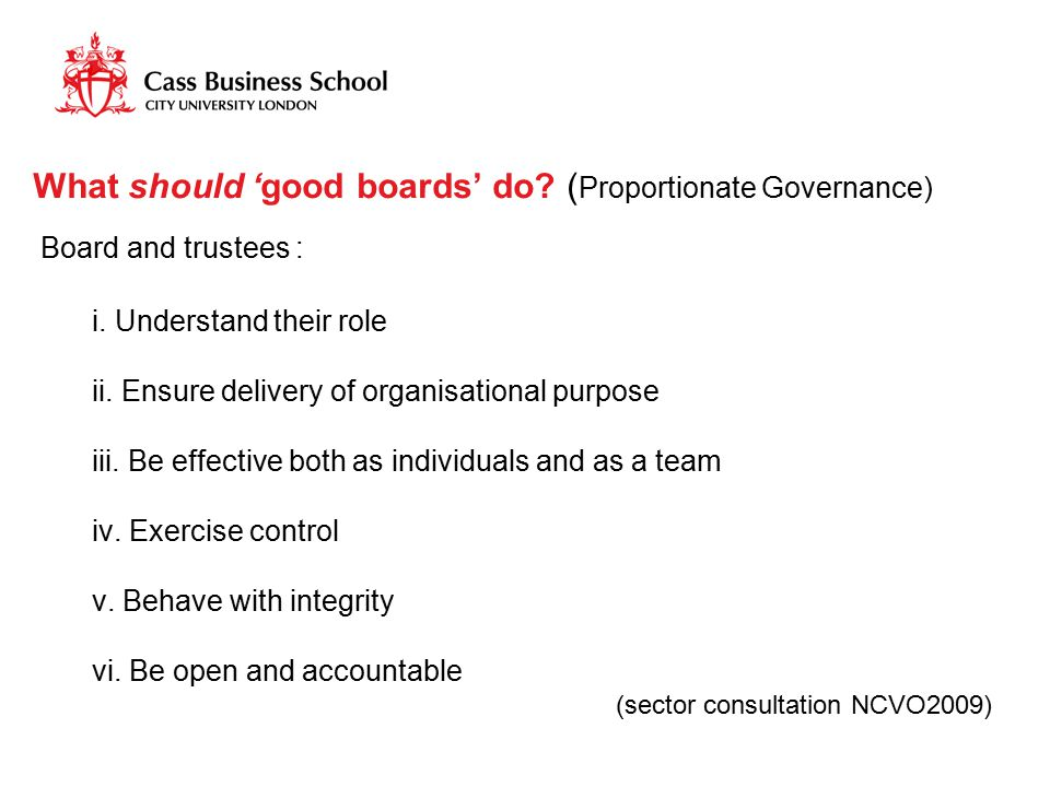 What should 'good boards' do? ( Proportionate Governance) Board and trustees : i. Understand their role ii. Ensure delivery of organisational purpose