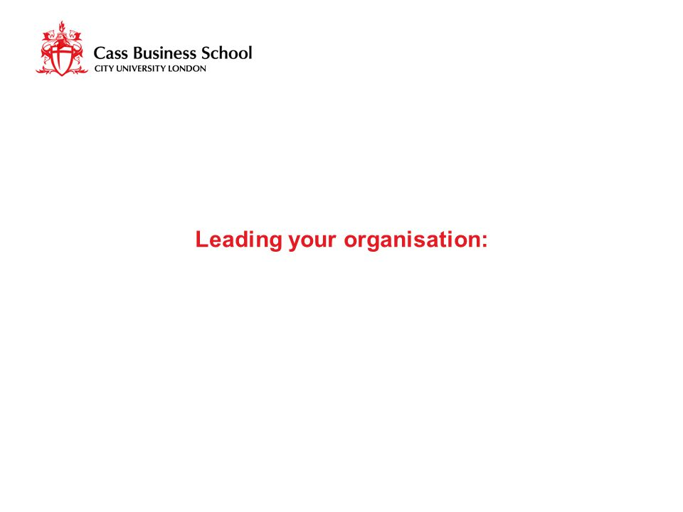 Leading your organisation: