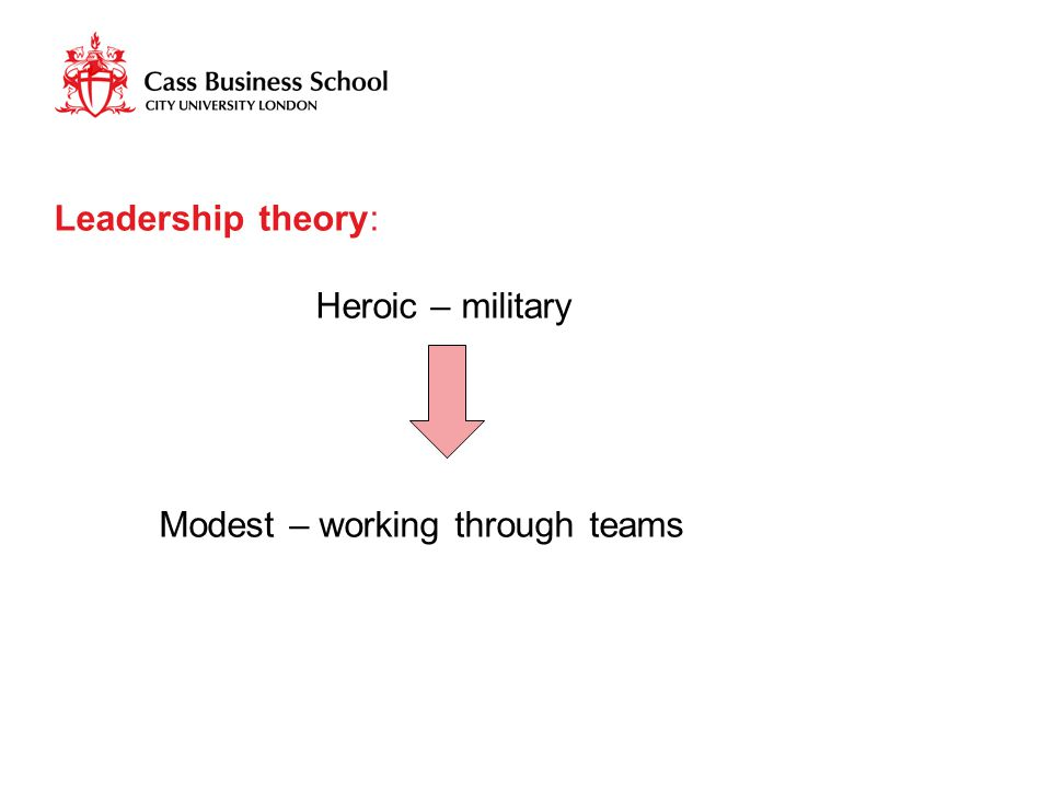 Leadership theory: Heroic – military Modest – working through teams