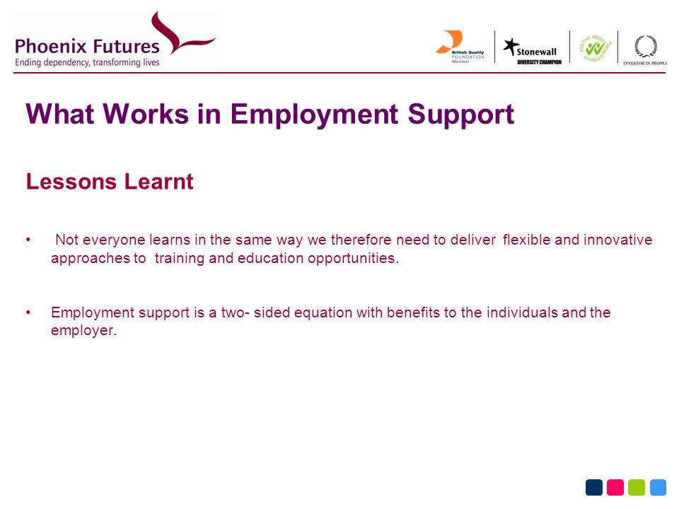 What Works in Employment Support Lessons Learnt Not everyone learns in the same way we therefore need to deliver flexible and innovative approaches to training and education opportunities.