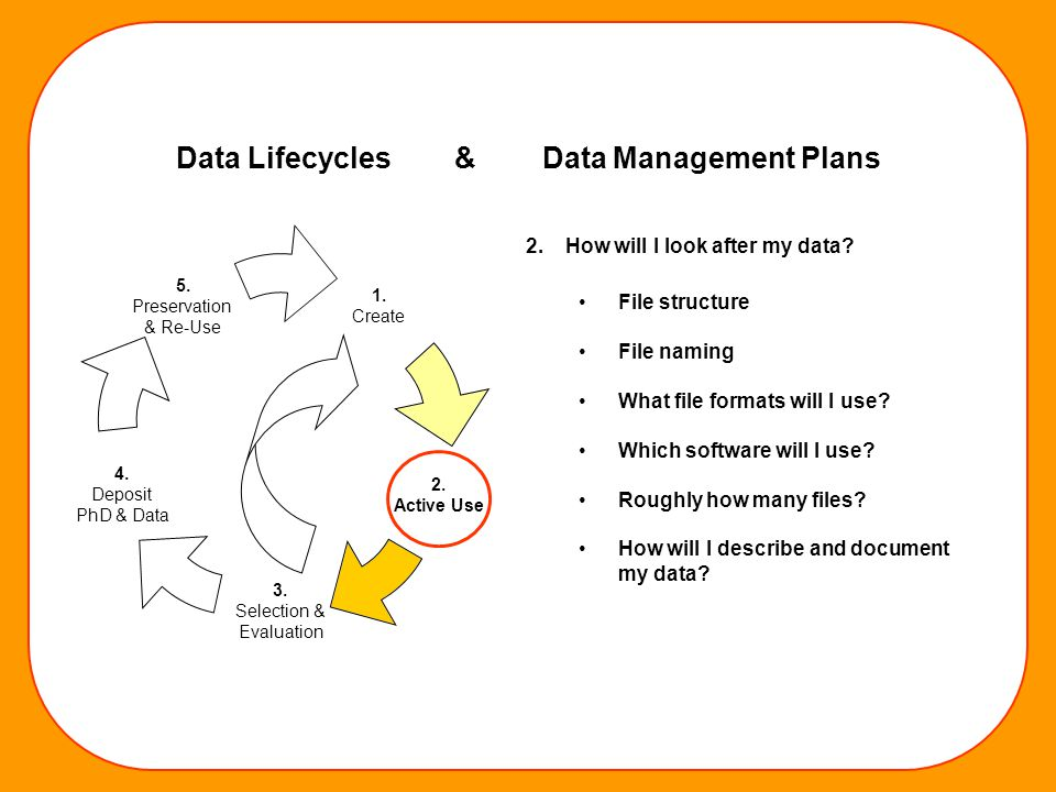 1. Create 2. Active Use 3. Selection & Evaluation 4. Deposit PhD & Data 5. Preservation & Re-Use 2. How will I look after my data? File structure File