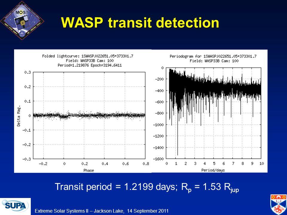 Extreme Solar Systems II – Jackson Lake, 14 September 2011 WASP transit detection Transit period = 1.2199 days; R p = 1.53 R jup