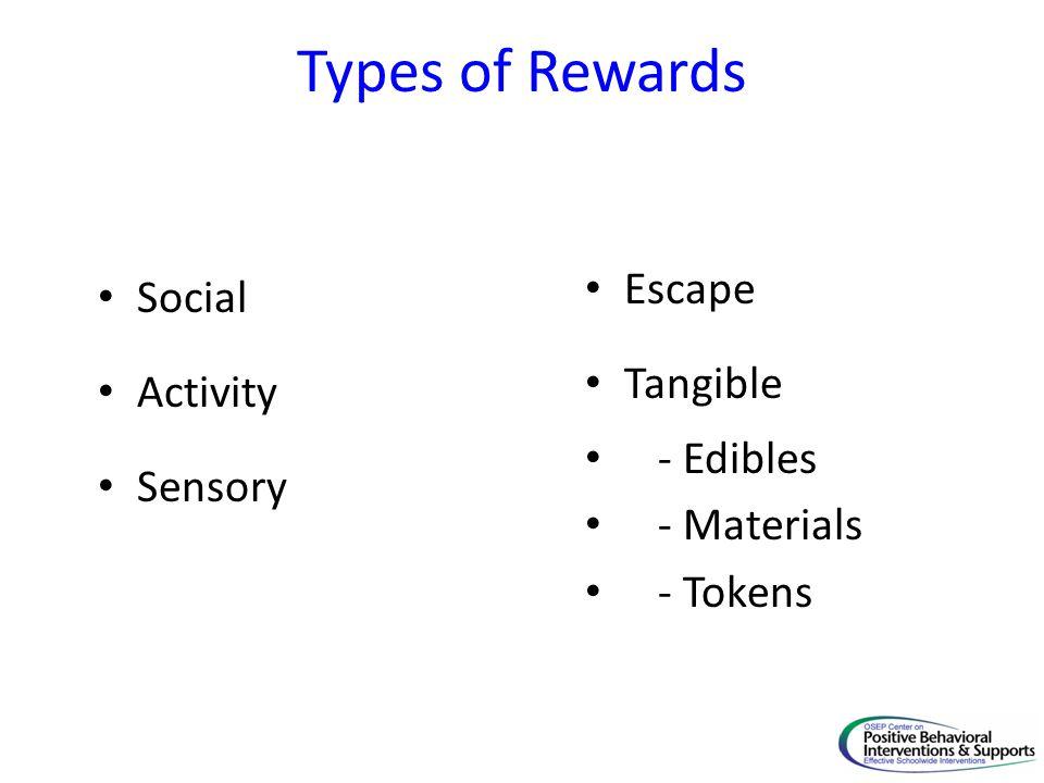 Types of Rewards Social Activity Sensory Escape Tangible - Edibles - Materials - Tokens