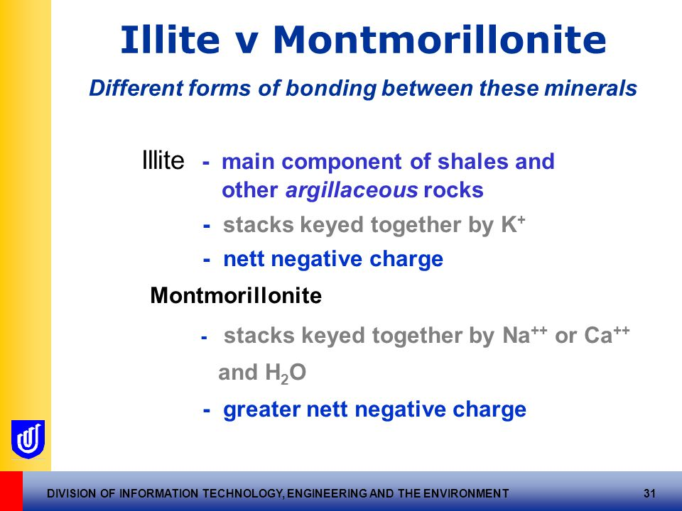DIVISION OF INFORMATION TECHNOLOGY, ENGINEERING AND THE ENVIRONMENT 31 Illite v Montmorillonite Different forms of bonding between these minerals Illite - main component of shales and other argillaceous rocks - stacks keyed together by K + - nett negative charge Montmorillonite - stacks keyed together by Na ++ or Ca ++ and H 2 O - greater nett negative charge