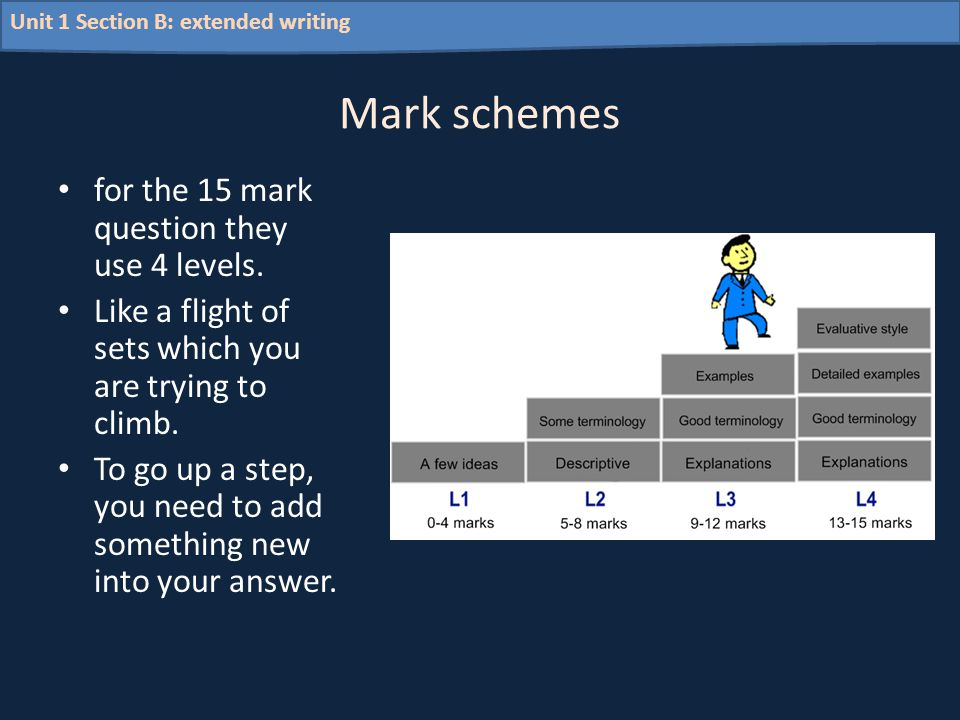 Unit 1 Section B: extended writing Mark schemes for the 15 mark question they use 4 levels. Like a flight of sets which you are trying to climb. To go