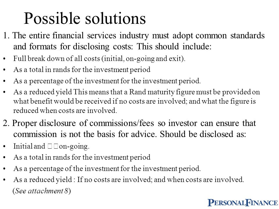 Possible solutions 1.