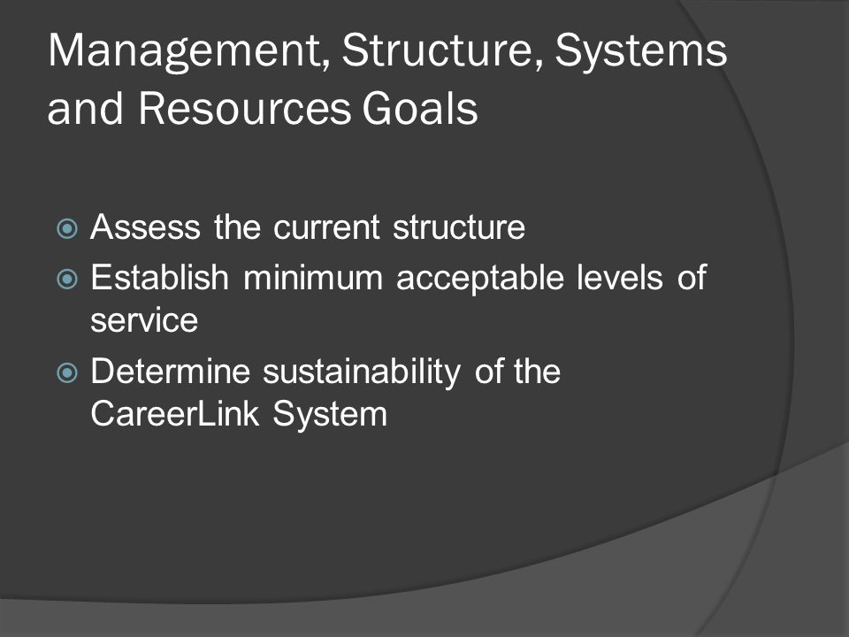 Management, Structure, Systems and Resources Goals  Assess the current structure  Establish minimum acceptable levels of service  Determine sustainability of the CareerLink System