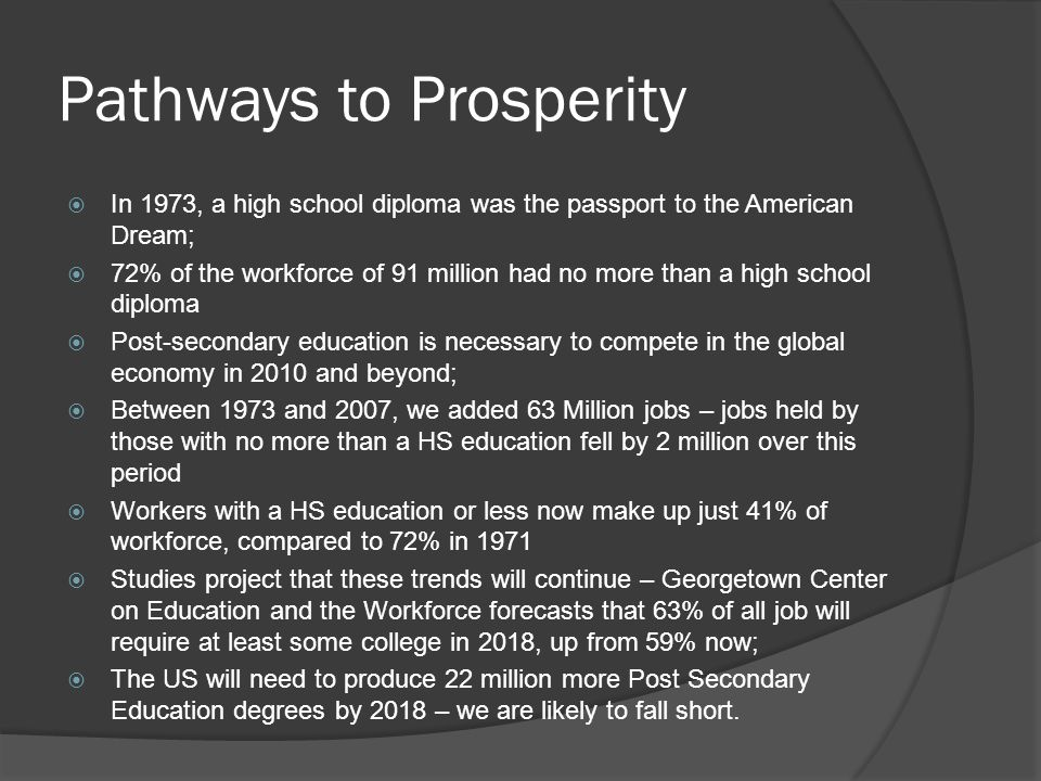 Pathways to Prosperity  In 1973, a high school diploma was the passport to the American Dream;  72% of the workforce of 91 million had no more than a high school diploma  Post-secondary education is necessary to compete in the global economy in 2010 and beyond;  Between 1973 and 2007, we added 63 Million jobs – jobs held by those with no more than a HS education fell by 2 million over this period  Workers with a HS education or less now make up just 41% of workforce, compared to 72% in 1971  Studies project that these trends will continue – Georgetown Center on Education and the Workforce forecasts that 63% of all job will require at least some college in 2018, up from 59% now;  The US will need to produce 22 million more Post Secondary Education degrees by 2018 – we are likely to fall short.