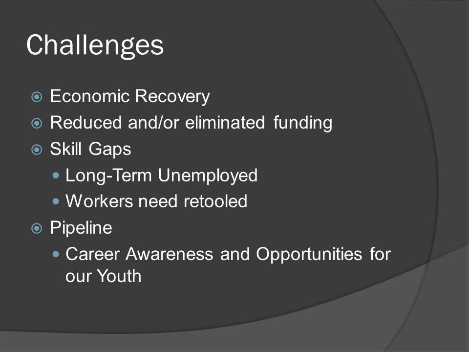 Challenges  Economic Recovery  Reduced and/or eliminated funding  Skill Gaps Long-Term Unemployed Workers need retooled  Pipeline Career Awareness and Opportunities for our Youth