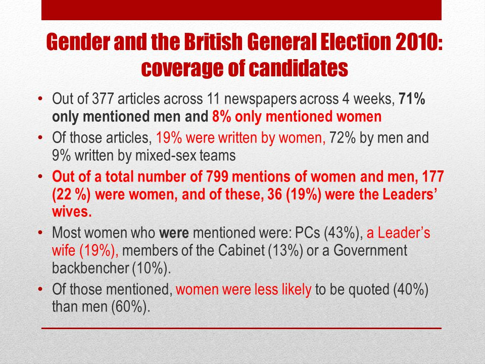 Gender and the British General Election 2010: coverage of candidates Out of 377 articles across 11 newspapers across 4 weeks, 71% only mentioned men a