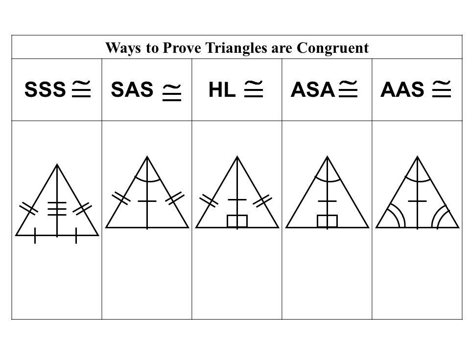 Ways to Prove Triangles are Congruent SSSSASHLASAAAS