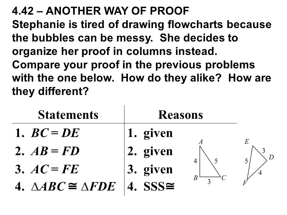 4.42 – ANOTHER WAY OF PROOF Stephanie is tired of drawing flowcharts because the bubbles can be messy. She decides to organize her proof in columns in