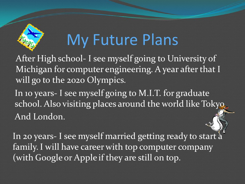 My Future Plans In 20 years- I see myself married getting ready to start a family. I will have career with top computer company (with Google or Apple