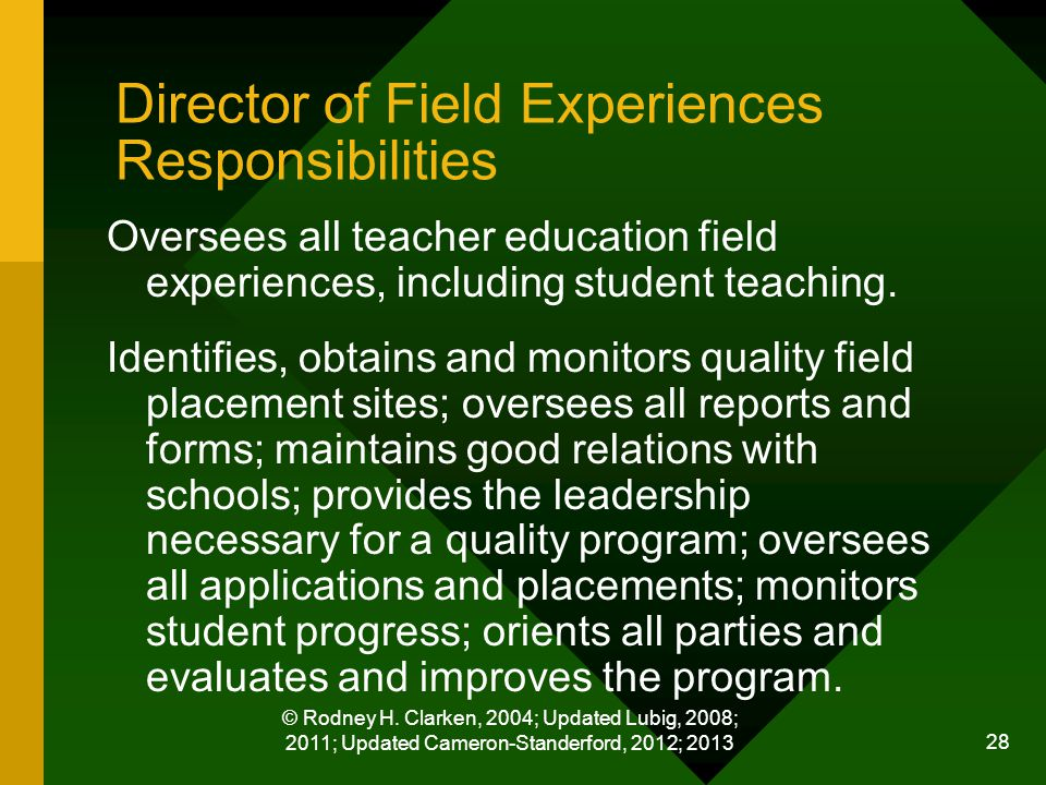 © Rodney H. Clarken, 2004; Updated Lubig, 2008; 2011; Updated Cameron-Standerford, 2012; 2013 28 Director of Field Experiences Responsibilities Overse