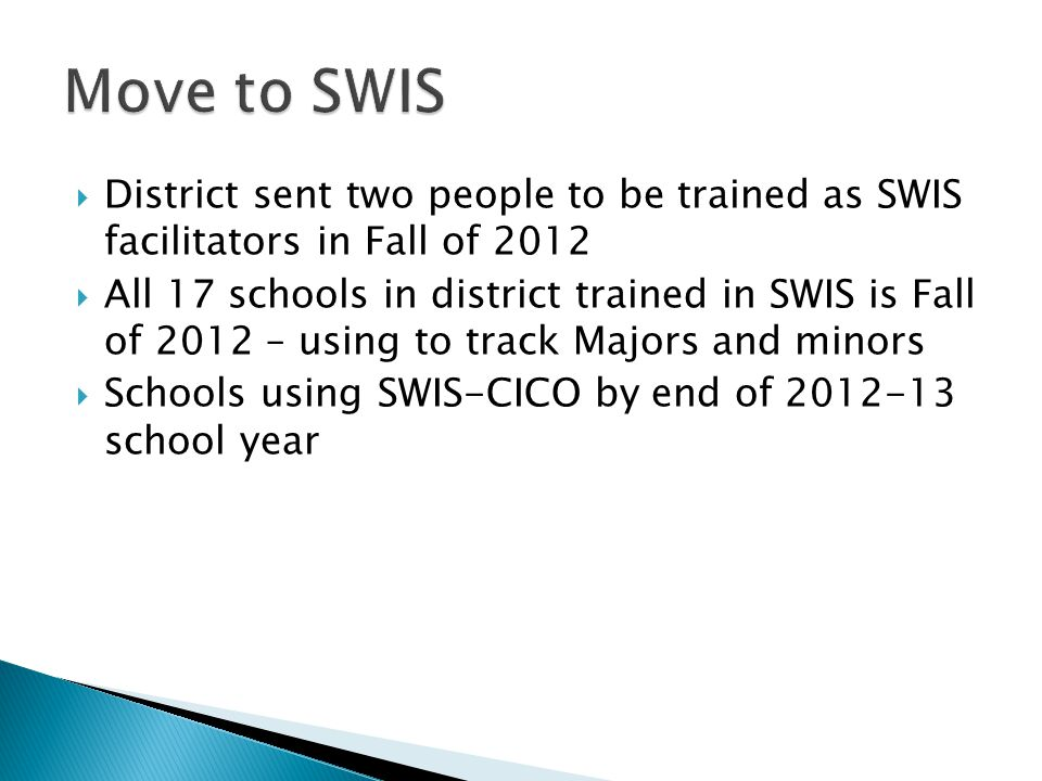  District sent two people to be trained as SWIS facilitators in Fall of 2012  All 17 schools in district trained in SWIS is Fall of 2012 – using to track Majors and minors  Schools using SWIS-CICO by end of 2012-13 school year