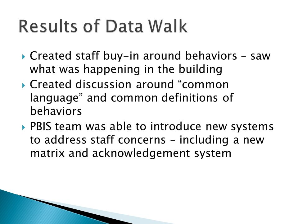  Created staff buy-in around behaviors – saw what was happening in the building  Created discussion around common language and common definitions of behaviors  PBIS team was able to introduce new systems to address staff concerns – including a new matrix and acknowledgement system