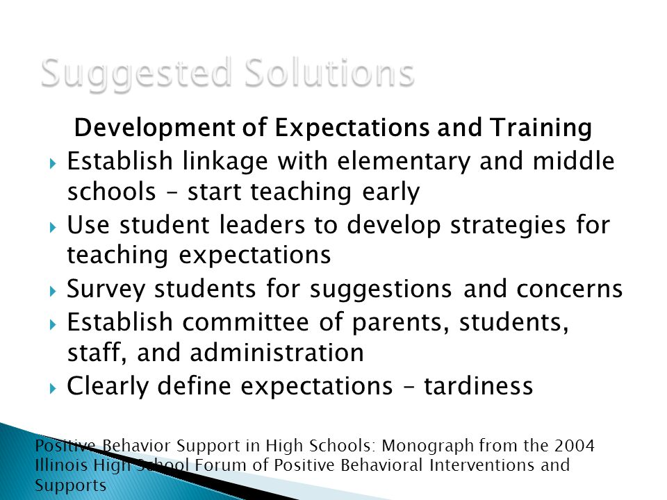 Development of Expectations and Training  Establish linkage with elementary and middle schools – start teaching early  Use student leaders to develop strategies for teaching expectations  Survey students for suggestions and concerns  Establish committee of parents, students, staff, and administration  Clearly define expectations – tardiness Positive Behavior Support in High Schools: Monograph from the 2004 Illinois High School Forum of Positive Behavioral Interventions and Supports