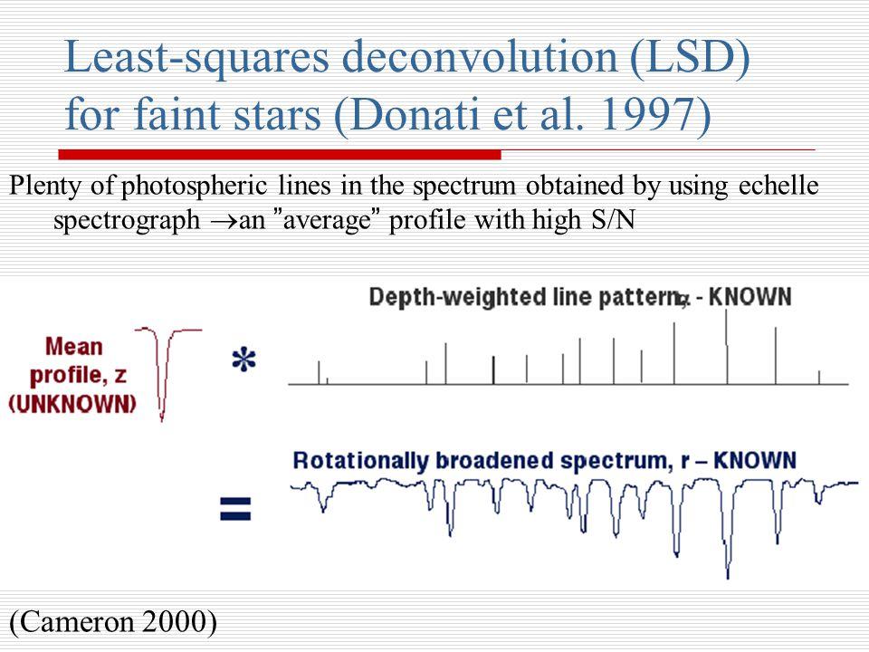Least-squares deconvolution (LSD) for faint stars (Donati et al.