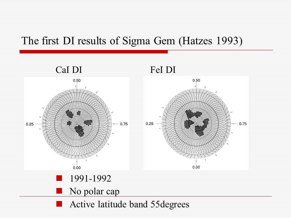 The first DI results of Sigma Gem (Hatzes 1993) CaI DI FeI DI 1991-1992 No polar cap Active latitude band 55degrees