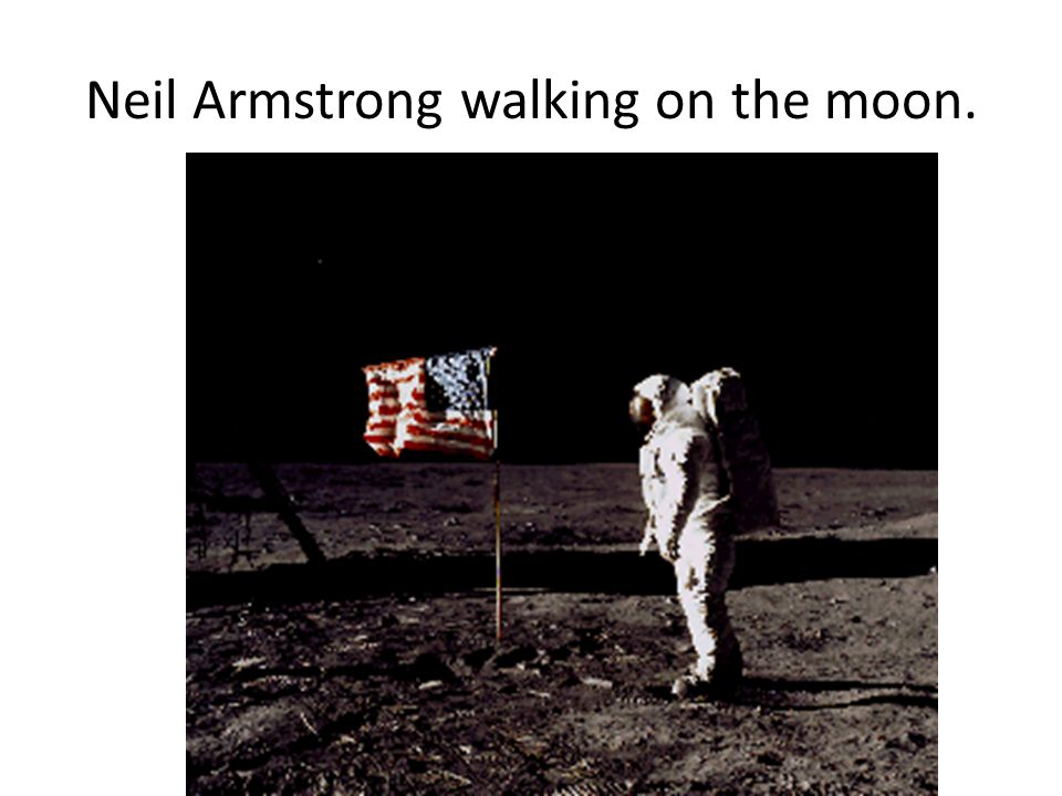 Neil Armstrong walking on the moon.