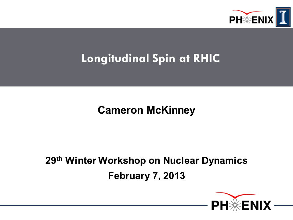 Longitudinal Spin at RHIC 29 th Winter Workshop on Nuclear Dynamics February 7, 2013 Cameron McKinney