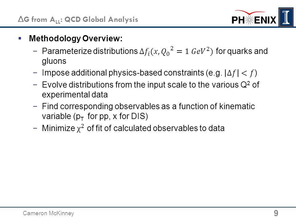 Δ G from A LL : QCD Global Analysis 9 Cameron McKinney