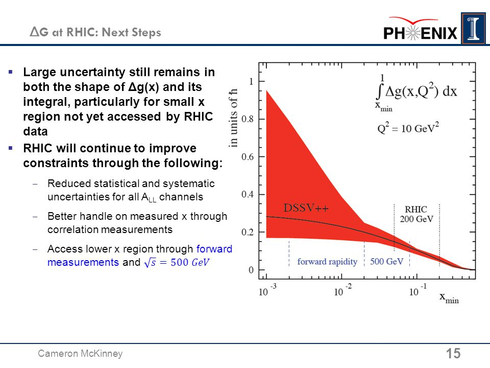 15 Cameron McKinney Δ G at RHIC: Next Steps  Large uncertainty still remains in both the shape of Δg(x) and its integral, particularly for small x region not yet accessed by RHIC data
