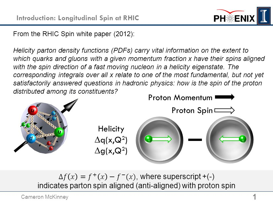 1 Introduction: Longitudinal Spin at RHIC From the RHIC Spin white paper (2012): Helicity parton density functions (PDFs) carry vital information on the extent to which quarks and gluons with a given momentum fraction x have their spins aligned with the spin direction of a fast moving nucleon in a helicity eigenstate.
