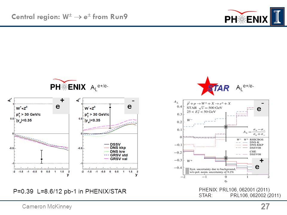 Central region: W   e  from Run9 PHENIX: PRL106, 062001 (2011) STAR: PRL106, 062002 (2011) P=0.39 L=8.6/12 pb-1 in PHENIX/STAR e-e- e+e+ e+e+ e-e- A L e+/e- 27 Cameron McKinney A L e+/e-
