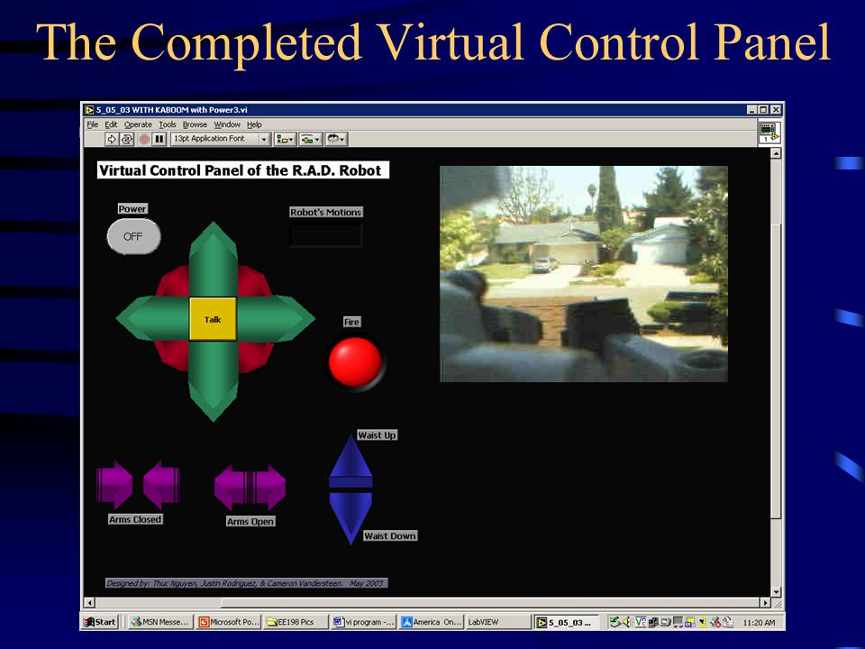 The Completed Virtual Control Panel