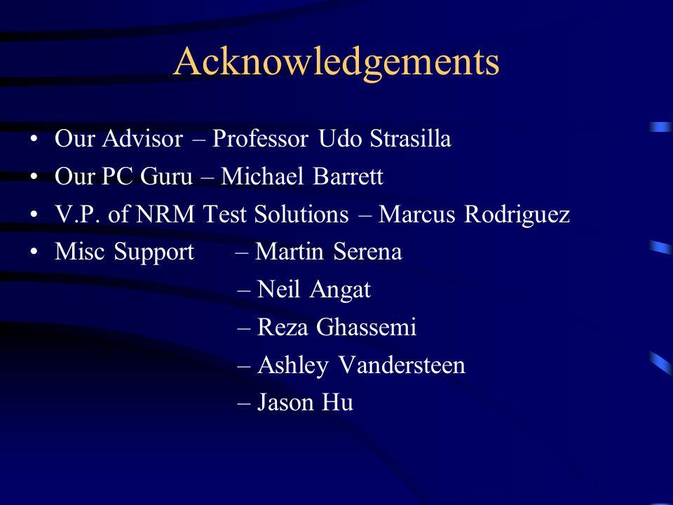 Acknowledgements Our Advisor – Professor Udo Strasilla Our PC Guru – Michael Barrett V.P.