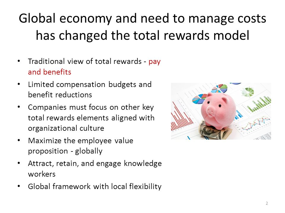 Global economy and need to manage costs has changed the total rewards model Traditional view of total rewards - pay and benefits Limited compensation