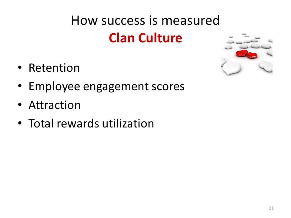 How success is measured Clan Culture Retention Employee engagement scores Attraction Total rewards utilization 21