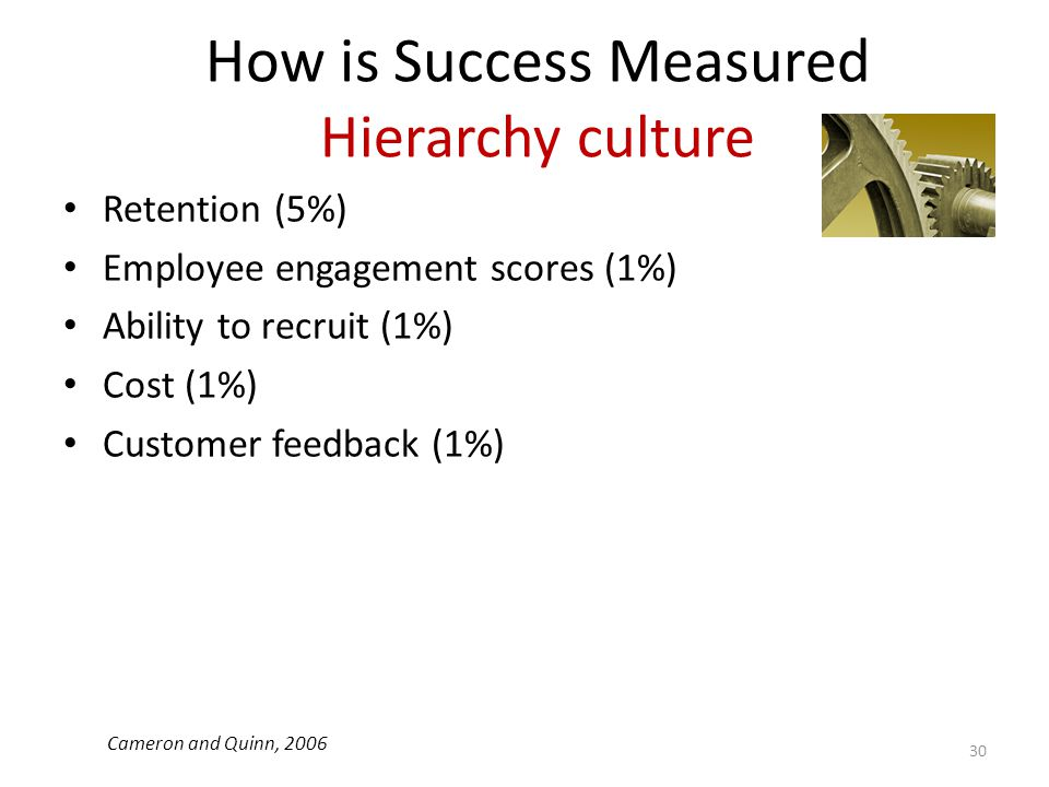 How is Success Measured Hierarchy culture Retention (5%) Employee engagement scores (1%) Ability to recruit (1%) Cost (1%) Customer feedback (1%) 30 C