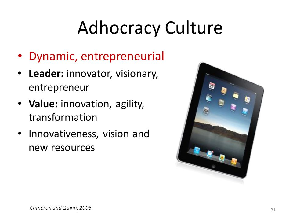 Adhocracy Culture Dynamic, entrepreneurial Leader: innovator, visionary, entrepreneur Value: innovation, agility, transformation Innovativeness, visio