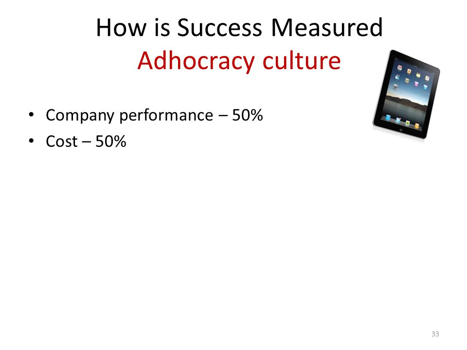 How is Success Measured Adhocracy culture Company performance – 50% Cost – 50% 33