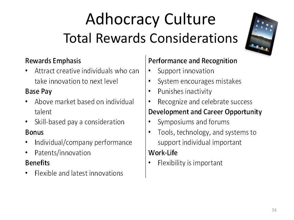 Adhocracy Culture Total Rewards Considerations 34