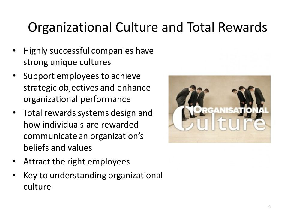 Organizational Culture and Total Rewards Highly successful companies have strong unique cultures Support employees to achieve strategic objectives and
