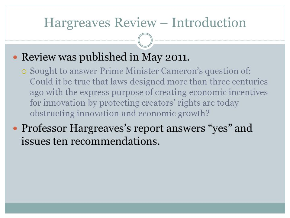 Hargreaves Review – Introduction Review was published in May 2011.
